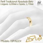 AL024-Par de Aliança de Casamento e Noivado Tradicional de Ouro 18K