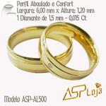 AL500- Par de Aliança Ouro 18k Dois Frisos Para Casamento ou Noivado
