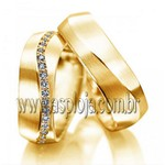 Aliança de casamento ou noivado condensado diamantes ouro amarelo 18K 750 anatomica largura 8,0mm-ASP-AL-14