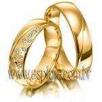 Aliança Condensada de diamantes em ouro amarelo 18K 750 de casamento ou noivado largura 5,5mm-ASP-AL-26
