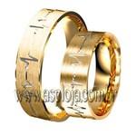 Aliança Simbolics cardiograma de casamento ou noivado em ouro amarelo 18K 750 largura 6,0mm-ASP-AL-99