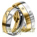 Aliança de Noivado ou casamento duo cor bicolor confort cravada com diamantes 6,50 mm de largura-ASP-AL46B