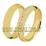 Aliança com 15 diamantes de 1.00 ponto ouro amarelo ou branco 18K 750 modelo abaulado externo e anatômico interno-ASP-AL54
