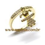 Anel Meia Aliança Ouro 18K Com Berloque Menina Cravejada 27 Diamantes 1,0 Ponto