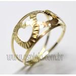 AN-4154-Anel de Ouro 18K Filegrama 3 Coração Vazada
