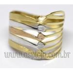 AN-4157-Anel de Ouro 18K Filegrama Fios e Faixas Tricolor