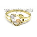 AN-4165-Anel de Ouro 18K Coração Com Rosas
