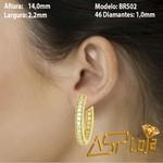 Brinco Argola em Ouro 18k com Diamantes Articulado-BR502