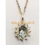 PG-27-Pingente de Ouro Branco 18K Agua Marinha Oval com 12 Diamantes