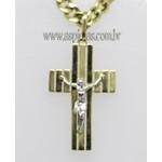 PG-29-Pingente em Ouro 18K Crucifixo com Cristo Em Ouro Branco