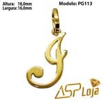 Pingente de Ouro 18K Letra Cursiva Personalizada -PG113