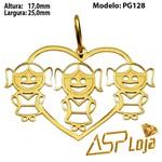 Pingente de Ouro 18K Coração 3 Filhas-PG128