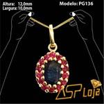 Pingente de Ouro 18K Safira Oval e Rubi-PG136