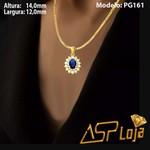 Pingente em Ouro 18K Pedra Safira Oval Com Diamantes-PG161