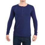 Camisa Henley Manga Longa Azul - Algodão Egípcio