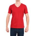 Camiseta Gola V Manga Curta Vermelho