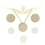 Conjunto Zirconia Lesprit Dourado Cristal e Quartzo Rosa Leitosa