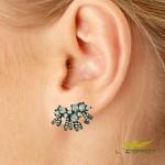 Brinco Ear Cuff Zircônia Lesprit Ródio Negro Azul Claro