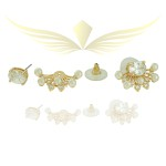 Brinco Ear Jacket Zircônia Pérola Lesprit Dourado Cristal