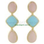 Brinco Pedra Lesprit Dourado Quartzo Rosa e Azul