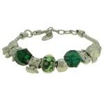 Pulseira Beloque Cristal Lesprit K03882-50720 Ródio Verde