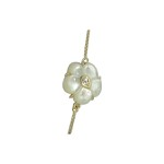 Colar Flor de Madrepérola e Zircônia Lesprit LC10011WCOGL Dourado Cristal