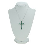 Colar Crucifixo Lesprit LBCL Ródio Cristal e Turmalina