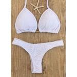 Kit Renda Off White (Saida de praia - saia longa + biquini cortininha larissa Tanga)