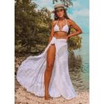 Saida de praia - saia longa com fenda Branca