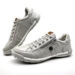 Sapatos Casual Zíper e Elástico Palmilha Ortopédica 148/04 Gelo