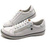 Sapatos CASUAL Masculino de Couro BMBRASIL SAPATENIS 608/12 Branco
