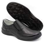 Sapato Confort Plus Bmbrasil De Couro Palmilha Em Gel Extra Leve 2711/01 Preto