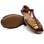Sandalia Rasteirinha Feminina Casual em Couro 710 Chocolate Bronze