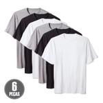 Kit 6 Camisetas Básicas Masculina 100% Algodão Cinza Preto e Branco