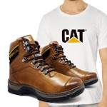 Bota Caterpillar 2061 - Avelã + Camiseta Branca Cat