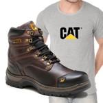Bota Caterpillar 2189 - Café Castanho + Camiseta Cinza Cat