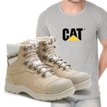 Bota Caterpillar 9820 - Nude + Camiseta Cinza Cat