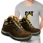 Bota Adventure CAT Experience - Café + Camiseta Cinza Cat