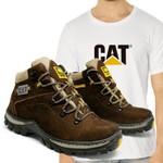Bota Adventure CAT Experience - Café + Camiseta Branca Cat
