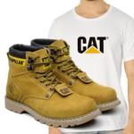 Bota Caterpillar Second Shift - Milho + Camiseta Branca Cat