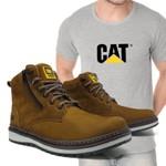 Bota Caterpillar Zip One - Osso + Camiseta Cinza Cat