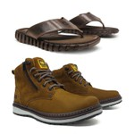 Bota Caterpillar Zip One - Osso + Chinelo FreeTime Cat - Café