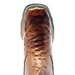 Botina Masculina Réplica de Avestruz Whisky Couro Legítimo Bico Quadrado