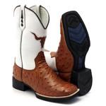 Bota Texana Masculina Replica de Avestruz Laranja Couro Legítimo Bico Quadrado