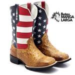 Bota Texana Masculina Couro Avestruz Conhaque EUA