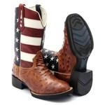 Bota Texana Masculina Replica Avestruz Bico Redondo EUA