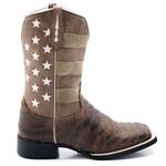 Bota Texana Masculina Americana em Couro Legítimo Bico Quadrado Escamada