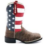 Bota Texana Masculina Estados Unidos em Couro Legítimo Bico Quadrado