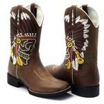 Bota Texana Em Couro Legítimo Bordado Índio Bico Quadrado