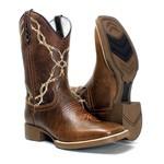 Bota Texana Masculina em Couro Legítimo Cano Bordado Arame Farpado Conhaque